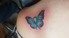 Suicide Awareness Ribbon Butterfly Tattoo - Purple and Teal Colors