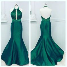 Sexy Evening Dresses 2016 New Arrival Robe De Soiree Real Photos Halter Neck Beaded Satin Mermaid Elegant Emerald Evening Dresses With Open Back Special Evening Dresses From Nicedressonline, $148.64  Dhgate.Com