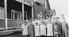 Cree children at Anglican school, Moose Factory, Ontario, ca. 1915.