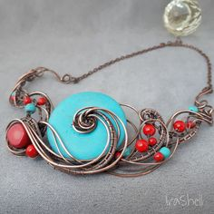 Turquoise wirewrap necklace with natural coral Wire Wrapped Necklace, Copper Necklace, Pendant Necklace, Copper Art, Turquoise Jewelry, Wire Jewelry, Wire Wrapping, Jewels, Jewelry Ideas