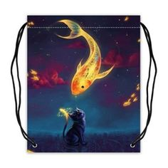 Custom Gold Fish Black Cat Basketball Drawstring Bags Backpacks Polyester Fabric Travel Backpack(Twin Sides) -- Awesome products selected by Anna Churchill