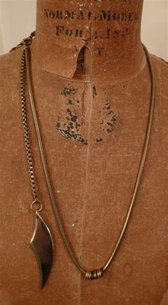 Annie Costello Brown Long Blade Necklace