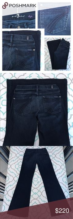 """💙👖Gorgeous 7FAM Dojo Jeans👖💙24 00 29.5 NY Dark 💙👖Gorgeous 7 For Mankind Dojos!!!👖💙 Size 24 (00). Already Hemmed for you. : ) 29.5"""" Inseam. 7.5"""" Rise. 12.75"""" Across Back. Some Stretch. Beautiful Dark Blue Wash. LA Dark. Dark Blue 7's. Light Fading. Excellent Used Condition. Almost Like New or New Without Tags Condition. Flattering Wide Leg. Trouser Fit. Lovely! 7 FAM! Anthro! Anthropologie! Ask me any questions! : ) 7 For All Mankind Jeans Flare & Wide Leg"""