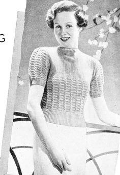 Free Vintage Knitting Pattern 30s thirties 1930s 30's 1930's