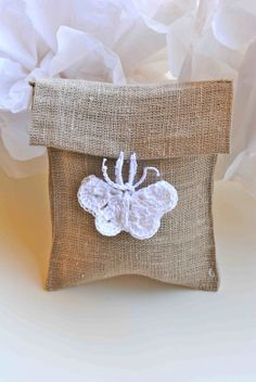 Rustic favor bag with crochet butterfly  Wedding  di LeCrochetdOr, $3.00