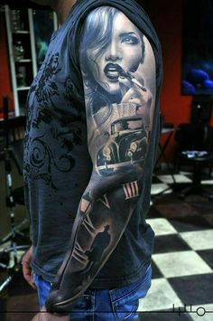 Rainer Lillo Film noir, mafia theme, vintage, black and grey tattoo, sleeve The best website you can find for tattoo lovers. Hippe Tattoos, Tattoos Masculinas, Chicano Tattoos, Sweet Tattoos, Black Tattoos, Body Art Tattoos, Hand Tattoos, Tattoo Ink, Hot Rod Tattoo