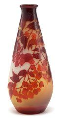 TALL GALLE OVERLAY GLASS VASE . Waisted polished red glass vase | Lot #62054 | Heritage Auctions