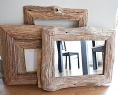 mirror in reclaimed farm wood frame, $85, ivarsdesign on etsy.