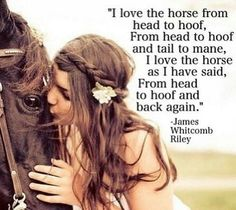 """""""I love the horse from head to hoof, from head to hoof and tail to mane, I love the horse as I have said, from head to hoof and back again."""" ~ James Whitcomb Riley"""