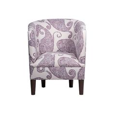 Troy Barrel Chair Lilac Paisley Club Chairs ($329) ❤ liked on Polyvore featuring home, furniture, chairs, accent chairs, handcrafted furniture, upholstered furniture, handmade furniture, upholstery furniture and upholstery chairs