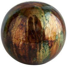 Green & Brown Ceramic Foil Sphere