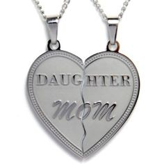 """Mom Daughter Break Apart Heart Necklace Pendant Set of (2) Half Heart Pieces with (2) 19"""" chains. Stainless Steel - Gift for Mother or Daughter (with FREE Velvet Pouch)_Best Seller Necklace  $29.95"""