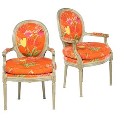 Pair of Louis XVI Style Fauteuils, Paule Marrot Fabric, Les Tulipes | From a unique collection of antique and modern armchairs at https://www.1stdibs.com/furniture/seating/armchairs/