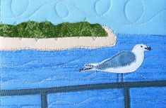 Art Quilt  Fabric Postcard  Beach Landscape  Mini by SewUpscale, $15.00