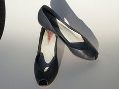 Navy Peep toed Heels -JWest - 1980s Punched Leather Detail - Sz 7.5N -2.5  heels - Vintage Shoes - Size 38 - Party shoes. $14.99, via Etsy.