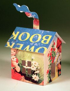 Handmade home.....could recycle beautiful greeting cards!  Add shutters that open, doors, etc.