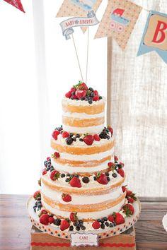 Beautiful patriotic naked berry cake
