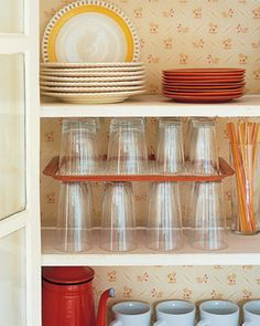 Trays as cabinet dividers.