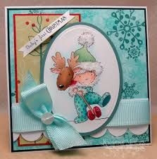 Baby's First Christmas by KatarinaM - Cards and Paper Crafts at Splitcoaststampers Baby's First Christmas Card, Babys 1st Christmas, Christmas Animals, Animal Cards, Lily Of The Valley, Copics, Homemade Cards, Card Making, Paper Crafts