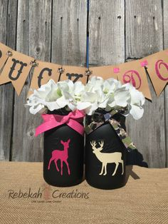 SALE!! Buck or Doe Mason Jars, Buck and Doe Mason Jars, Buck or Doe, Gender Reveal Mason Jars, Rustic Gender Reveal Decor, Buck or Doe Decor