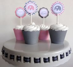 Elephant Baby Shower Decorations   Cupcake Toppers. $10.00, Via Etsy.