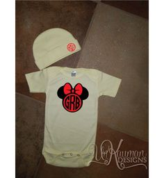 Minnie Mouse  w/Circle Monogram and Bow *FREE BEANIE* wMonogram/Baby Shower Gift
