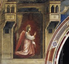 Annunciation: The Angel Gabriel Sent by God (Cappella Scrovegni (Arena Chapel), Padua) by Giotto Di Bondone - Hand Painted Oil Painting San Gabriel, Fra Angelico, Religious Paintings, Religious Art, Renaissance Artists, Italian Painters, Art Database, Italian Art, Medieval Art