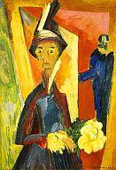 Ernst Ludwig Kirchner 1917 German, The Visit (Mrs. Emil Nolde, Ernst Ludwig Kirchner, Amedeo Modigliani, Davos, Karl Schmidt Rottluff, Dresden, Milwaukee Art Museum, Haitian Art, Expressionist Artists