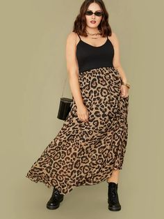 Printed Skirt Outfit, Maxi Skirt Outfits, Printed Maxi Skirts, Leopard Maxi Skirts, Leopard Print Skirt, Animal Print Skirt, Casual Curvy Fashion, Plus Size Fashion, Curvy Outfits