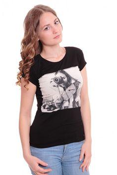Футболка А6057 Размеры: 42-48 Цвет: черный Цена: 375 руб.  http://optom24.ru/futbolka-a6057/  #одежда #женщинам #футболки #оптом24