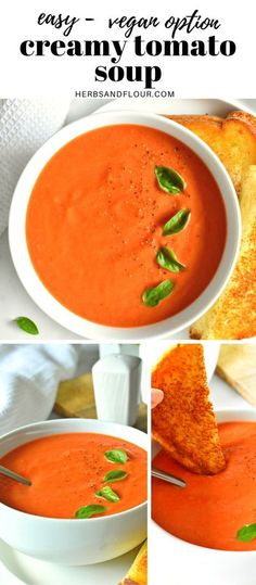 This easy to make homemade Creamy Tomato Soup is made from scratch using fresh tomatoes! It is full of fresh flavours! Low Carb Soup Recipes, Dinner Recipes, Gluten Free Stew Recipe, Tomato Soup From Scratch, Cheesy Potato Soup, Indian Food Recipes, Ethnic Recipes, Bowl Of Soup, Homemade Soup