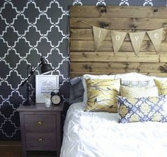 Large Moorish Trellis Stencil - r933l - $45 https://www.walltowallstencils.com/stencil/r933l/Large+Moorish+Trellis Gorgeous trellis stencil design behind rustic pallet headboard.  All over stencils are easy to use for creating an all over wallpaper effect.  Very inexpensive compared to wallpaper. Secure to wall, floor or furniture with tape. Apply paint with stencil brush or foam roller.  #trellisstencil