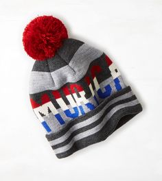 aab0ab928ed30 Grey AEO Murica Beanie- American Eagle Outfitters Gifts For Teens