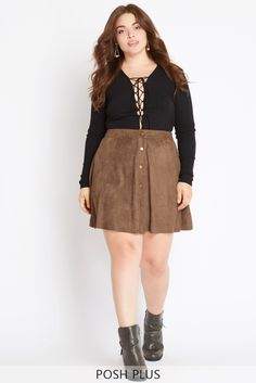 Details Add texture to your wardrobe with this feminine faux suede skirt. The ultra soft material begins at a cinched high waist and flares into a subtly paneled design. With trendy button down detail
