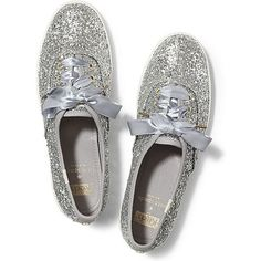 Keds x kate spade new york Champion Glitter ($80) ❤ liked on Polyvore featuring shoes, sneakers, keds, kate spade, silver glitter, glitter flat shoes, silver sparkle shoes, flat shoes, retro sneakers and silver glitter shoes