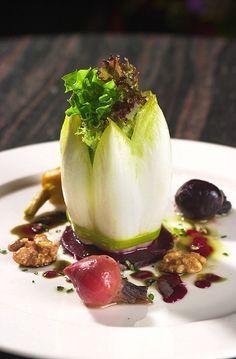 California Goat Cheese Salad with Baby Beets & Walnut Vinaigrette #plating #presentation