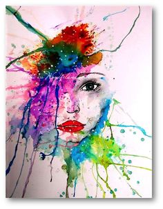 Abstract watercolor Portrait Ken Oliver Color Burst
