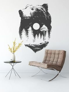 Forest Bear - Wall decals for magical minds | Many colors and Sizes available | Mystic collection | Nature Spirit | Indian Culture by BrutalVisual