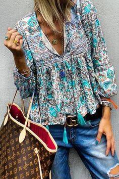 Women Plus Size Floral Loose Blouse Looks Style, Style Me, Fashion Prints, Boho Fashion, Fashion Top, Boho Bluse, Estilo Hippie, Elegantes Outfit, Mode Boho