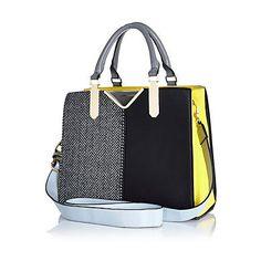 Black herringbone colour block tote bag $80.00