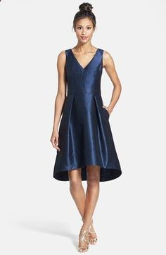 Alfred Sung Satin High/Low Fit  Flare Dress (Online Only) | Nordstrom