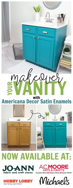 Update your bathroom with a bold splash of color using Americana Decor Satin Enamels. @DecoArt #decoartprojects #decoartprojects