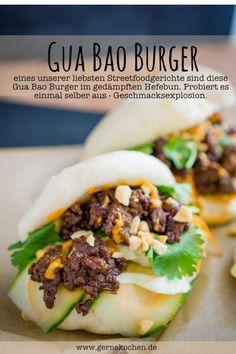 Gua Bao burgers are a great street food. A steamed Hefebun meets a … – Hotdogs, Burger, Streetfood – Finger Food Bao Burger, Burger Menu, Burger Recipes, Pork Recipes, Asian Recipes, Cooking Recipes, Ethnic Recipes, Bun Recipe, Recipe For Mom