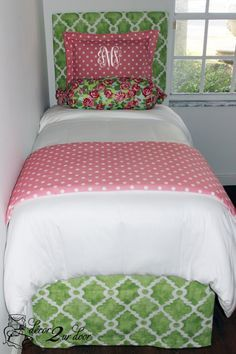 Floral pink and green designer bedding. Perfect for dorm, teen, sorority, apartment and home. Designer headboard, custom pillows, exclusive bed scarf, window panels, wall art, bed skirts, duvet (twin, queen, king) and custom monogramming!!  http://www.decor-2-ur-door.com/designer-dorm-bed-in-a-bag-sets/green-custom-bedding-sets-teen-girl-dorm-room-apartment-home-bed-in-a-bag/preppy-floral-chic-teen-girl-dorm-room-custom-bedding-set?utm_content=buffer7f4d5&utm_medium=social&utm_source=pinterest.…