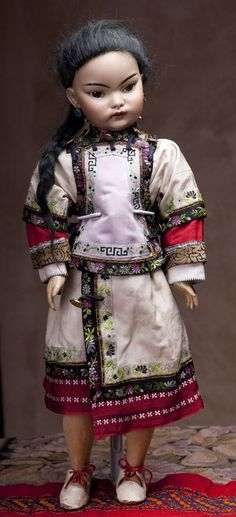 "19"" Rare Extremely Attractive Asian Bisque Doll S for French market with French stamps on the lady type body"