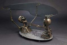 """"""" Skeleton Coffee Table by Skelemental This is Full Throttle, a rather unusual skeleton coffee table, and Skelemental's first piece of furniture. Full size skeleton busts, one being. Skull Furniture, Gothic Furniture, Unique Furniture, Cheap Furniture, Furniture Ideas, Weird Furniture, Furniture Companies, Plywood Furniture, Furniture Stores"""