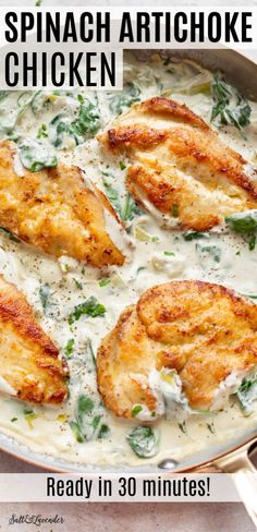 This easy spinach artichoke chicken recipe is a fun twist on the popular hot dip Pan-fried chicken breasts are smothered in a delicious cream cheese sauce that has spinach and artichokes It s quick and great for busy weeknights Total comfort food Easy Chicken Recipes, Turkey Recipes, Easy Healthy Recipes, Quick Easy Meals, Easy Dinner Recipes, Popular Dinner Recipe, Fun Dinner Ideas, Health Chicken Recipes, Chicken Breats Recipes