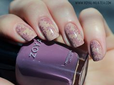 Royal Milk Tea: Zoya Naturel Vintage Floral Stamping. This gal is amazing.