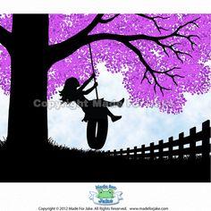 Girl Tree Swing Silhouette with Lilac tree  nursery by Madeforjake, $14.50