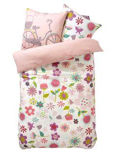 """#Juego de #ropa de #cama #niña """"Miles de pétalos""""  Funda de #almohada + #Funda #nórdica + #Sábana bajera ajustable"""